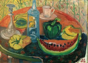 """Annalise Pilasik, Stillleben mit Melone"""", 1972, Öl auf Malpappe, 50 x 69,5 cm, Sammlung Krupp"""