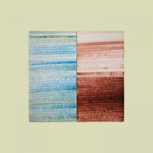 Karla Woisnitza, Blau/Maroon (Farbstudie für Altarwand), 2002, Eitempera auf Leinen auf Holz, 35 x 37 x 4cm Foto: Iris Weirich, Berlin. © Karla Woisnitza/VG Bild-Kunst, Bonn