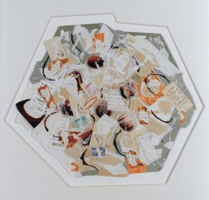 Karla Woisnitza, Berlin Pie, 1990, Collage/Übermalung, Ø ca 40 cm, © Karla Woisnitza/VG Bild-Kunst, Bonn