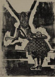 """Annalise Pilasik, Im Zoo"""", undatiert – etwa 1966, Linolschnitt/Pergament, 48,5 x 31,4 cm, Sammlung Krupp"""